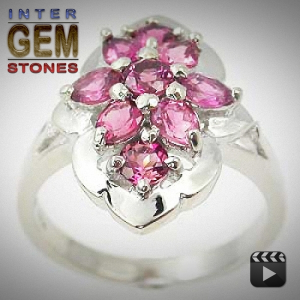 Pink Tourmalin Ring, Silber 925, 21.18 Carat, VVS,  excellenter Schliff