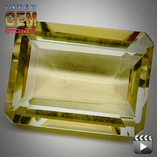 Lemon Quarz, 15.10 Carat, oktagon, IF, excellent