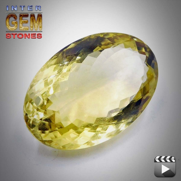 Lemon Quarz, 92.80 Carat, oval, VVSI, excellent