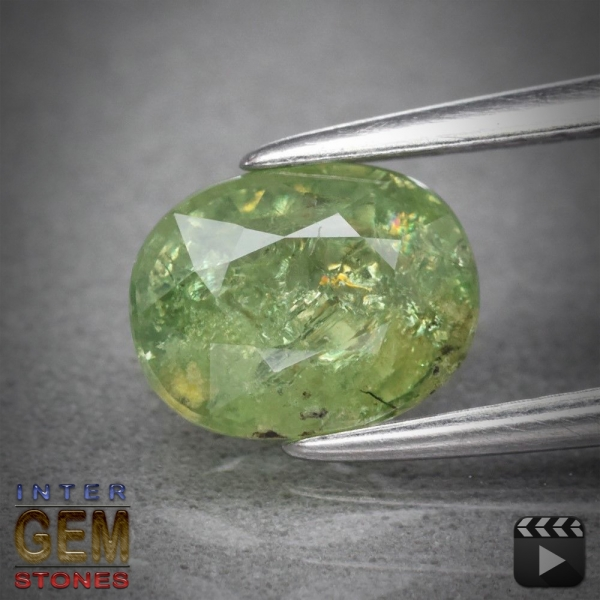 Demantoid, Oval, I1, 1.44 Carat, 7.0x5.8 mm, aus Madagaskar