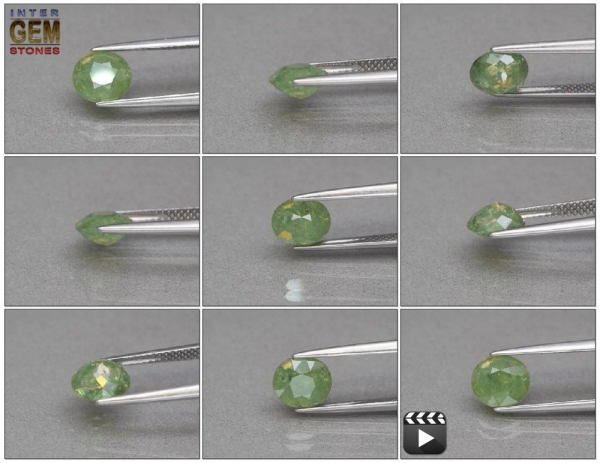 Demantoid, Oval, I1, 1.82 Carat, 7.6x6.8 mm, aus Madagaskar