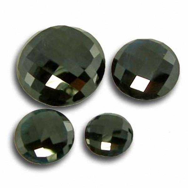 Black Turmalin 2-5.5 Carat, Opaque, Rund checkerboard, excellent, ab 7.90